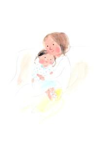 お母さんのひざで抱っこされる子供のイラスト素材 [FYI04792790]