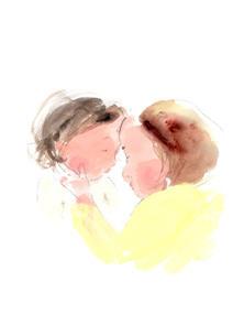 おでこで子供の熱を測るお母さんのイラスト素材 [FYI04792794]