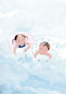 浮き輪で泳ぐ子供たちのイラスト素材 [FYI04792812]