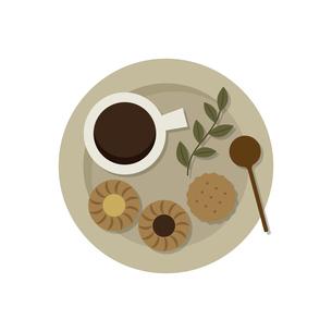 クッキーとコーヒー おやつプレートのイラスト素材 [FYI04793005]