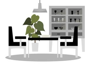 ダイニングルーム テーブル 食器棚 イラストのイラスト素材 [FYI04793363]