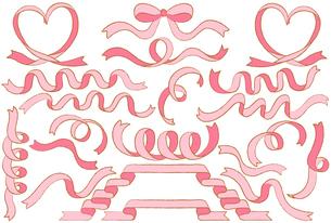 ピンク色のリボンのイラストセットのイラスト素材 [FYI04793377]