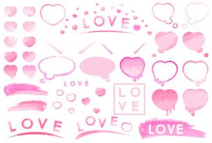 ピンク色のハートや装飾枠のイラストセット【水彩画風】のイラスト素材 [FYI04793382]