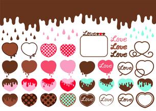 ハート型のチョコレートと溶けるチョコレートのイラスト素材セットのイラスト素材 [FYI04793384]