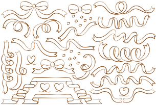 リボンの線画イラストセットのイラスト素材 [FYI04793386]
