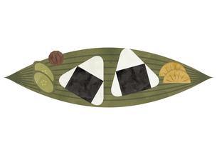 おにぎり 笹の葉 漬物 水彩イラストのイラスト素材 [FYI04793457]