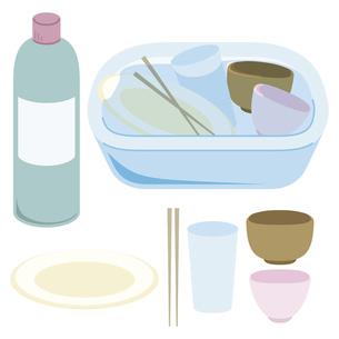 食器を漂白剤で消毒する様子のイラスト素材 [FYI04793482]