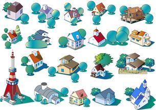 様々な建物のイラスト集のイラスト素材 [FYI04793495]