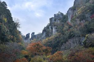深耶馬渓~一目八景の紅葉(夫婦岩)の写真素材 [FYI04793771]
