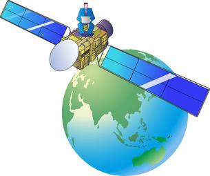 通信衛星のインターネットのネットワークで仕事をするビジネスマンのイラスト素材 [FYI04794289]