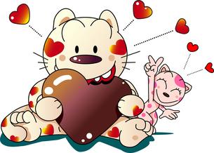 バレンタインデーでハートのチョコを嬉しそうに食べる猫のイラスト素材 [FYI04794292]