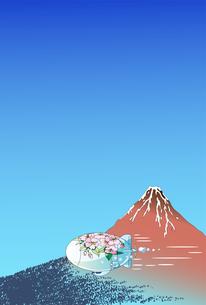 浮世絵の赤富士と桜の飛行船のイラスト素材 [FYI04794315]