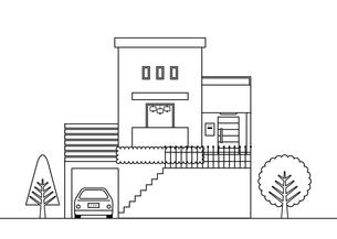 掘り込み式駐車場のある家 アウトライン イラストのイラスト素材 [FYI04794848]