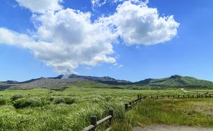 阿蘇山(カルデラ) 最高に美しい晴天空を背景に阿蘇山噴火風景 2020年(夏)の写真素材 [FYI04794990]
