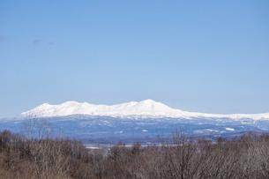春の晴れた日の雪山と青空 大雪山の写真素材 [FYI04795166]