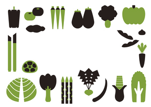 2色の野菜のフレームのイラスト素材 [FYI04795291]