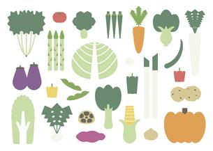 やさしい色あいのたくさんの野菜たちのイラスト素材 [FYI04795293]