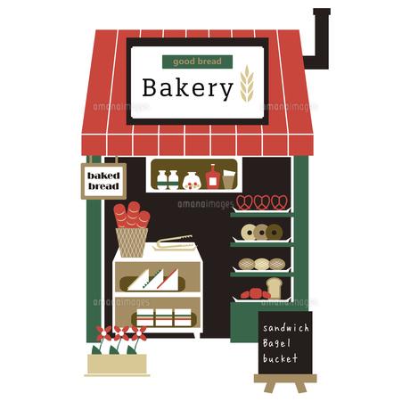 小さな赤い屋根のパン屋さんのイラスト素材 [FYI04795313]