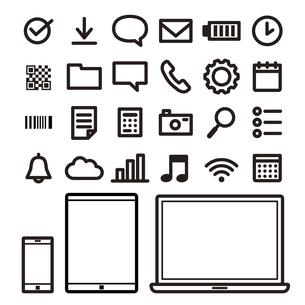 アイコン素材:パソコン・スマホ・タブレットのアイコンセットのイラスト素材 [FYI04795323]