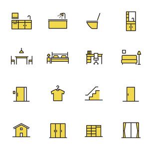 シンプルアイコンセット:住まいのいろいろなアイコンのイラスト素材 [FYI04795326]