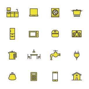 シンプルアイコンセット:住まい・キッチンのイラスト素材 [FYI04795327]