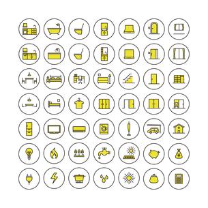 シンプルアイコンセット:住まいとエネルギーのイラスト素材 [FYI04795331]