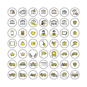 シンプルアイコンセット:住まいと車の保険のイラスト素材 [FYI04795332]