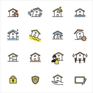シンプルアイコンセット:住まいの保険(火災保険・地震保険)のイラスト素材 [FYI04795336]