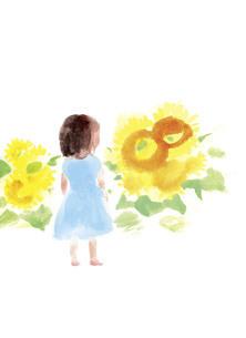ひまわりと少女のイラスト素材 [FYI04795650]