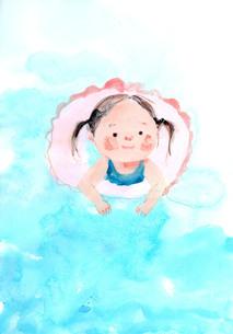 浮き輪で水遊びをする女の子のイラスト素材 [FYI04795651]