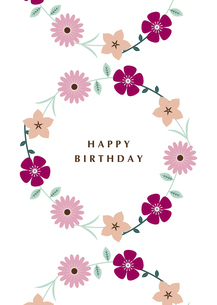 フラワーリース 誕生日カード イラストのイラスト素材 [FYI04795933]