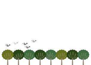 森と空を飛ぶ鳥のイラスト素材 [FYI04796106]