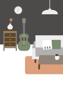 アコースティックギターのある部屋のイラスト素材 [FYI04796119]