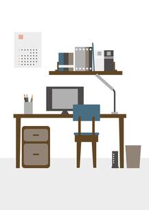 リモートワークをする部屋のイラスト素材 [FYI04796143]