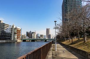 川沿いに続く遊歩道の写真素材 [FYI04796150]