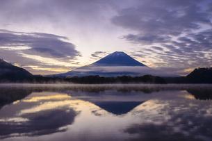 山梨県 夜明けの精進湖と富士山の写真素材 [FYI04796178]