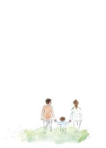 手をつないで歩く三人の親子のイラスト素材 [FYI04796256]