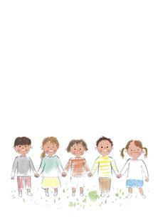 手をつないで並ぶ子供たちのイラスト素材 [FYI04796257]