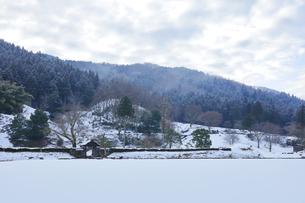 冬の北陸 一乗谷朝倉氏遺跡の雪景色の写真素材 [FYI04796418]