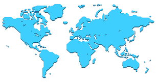 World map with shadow (simplified outline world map)のイラスト素材 [FYI04796438]