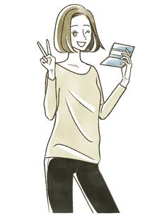 通帳を手にピースをする女性のイラスト素材 [FYI04796467]