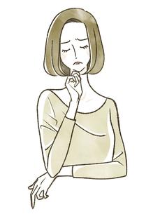 考えている女性のイラスト素材 [FYI04796599]