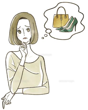 想像している女性 ファッションのイラスト素材 [FYI04796618]