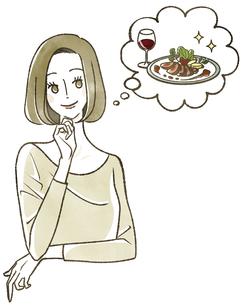 食事のことを考えている女性のイラスト素材 [FYI04796633]