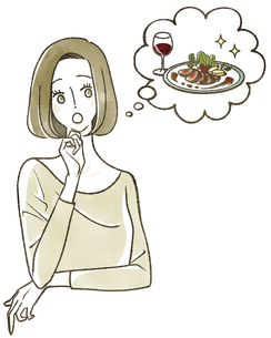 食事のことを考えている女性のイラスト素材 [FYI04796634]