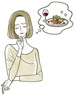 食事のことを考えている女性のイラスト素材 [FYI04796636]