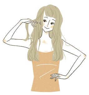ロングヘアの笑顔の女性のイラスト素材 [FYI04796651]