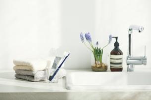 洗面所に置かれたタオルと歯ブラシの写真素材 [FYI04796787]