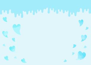 垂れているチョコレートとハートの背景画像【水色】のイラスト素材 [FYI04797510]