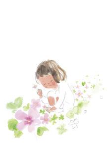 しゃがんで花をつむ少女のイラスト素材 [FYI04797532]